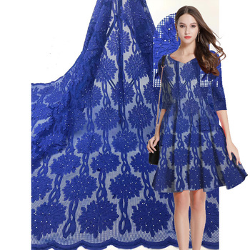 Network French Tull Lace Fabric For Women Dress 2019 High quality African Embroidered Lace Fabric With Stone DIY Sewing Cloth