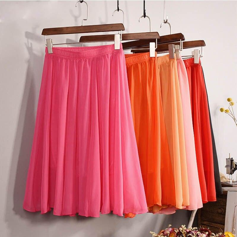 New Fashion Women's 23 Color High Waist Chiffon Skirt 2018 Summer Ladies Casual Slim Beach Pleated Skater Midi Skirts Saia SK17
