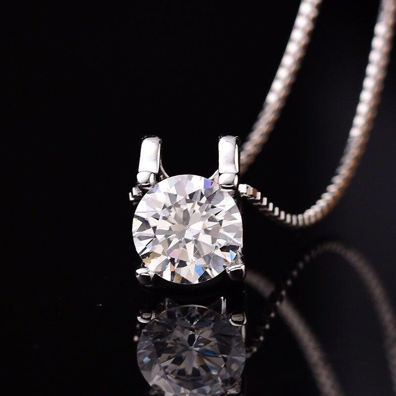 Rond Moissanite pendentif D couleur 0.5ct-2ct femmes classique collier femme pur S925 argent clavicule chaîne Fine bijoux