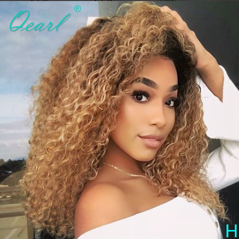 Ombre Color 13x6 Lace Front Wig With Baby Hair Brazilian Remy Kinky Curly Human Hair Wigs For Women Glueless Lace Wig 150% Qearl