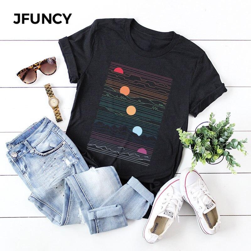 JFUNCY Sunrise Print Plus Size Women Loose Tee Tops 100% Cotton Summer T-Shirt Woman Shirts Fashion Casual Kawaii Mujer Tshirt(China)