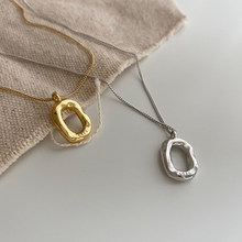S925 Sterling Silver Necklace for Women Minimalist Oval Doughnut Pendant Necklace Fashion Chain Necklace Jewelry Wholesale