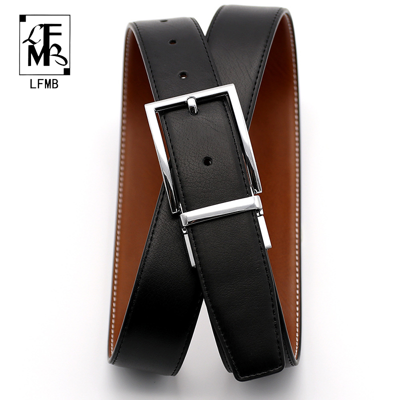 100% Cowhide Leather Belt Men Designer Belts Men High Quality Male Genuine Leather Strap Pin Buckle For Jeans Cinturon Hombre