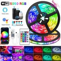 Tira de luces LED con WIFI, RGB, Bluetooth 5050, SMD 2835, Flexible, 30M, 25M, cinta impermeable, diodo, CC, WIFI, 24K, Control + adaptador