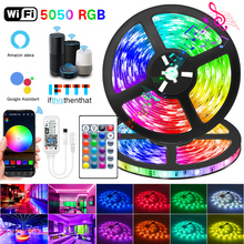 WIFI LED Strip Lights Bluetooth RGB Led light 5050 SMD 2835 Flexible 30M 25M Waterproof Tape Diode DC WIFI 24K Control+Adapter