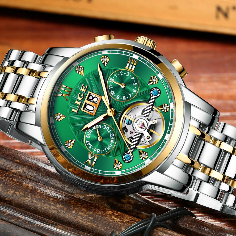 LIGE véritable montre hommes automatique mécanique Tourbillon montre de luxe en acier inoxydable Sport montres hommes Relogio Masculino - 2
