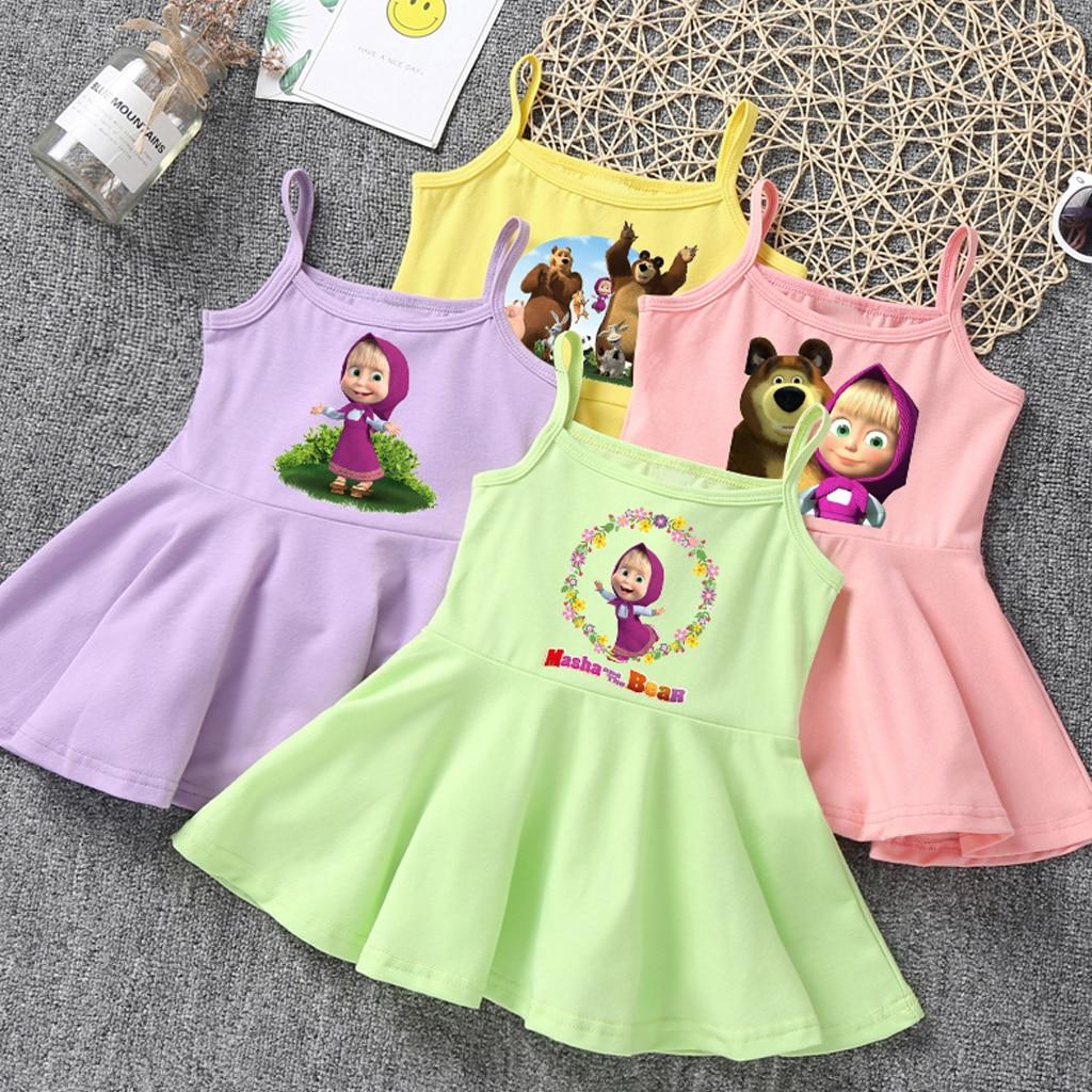 Платье для девочек детское летнее милое желтое розовое платье майка с круглым вырезом и принтом «Маша и Медведь» Детская одежда для маленьких девочек Платья    - AliExpress