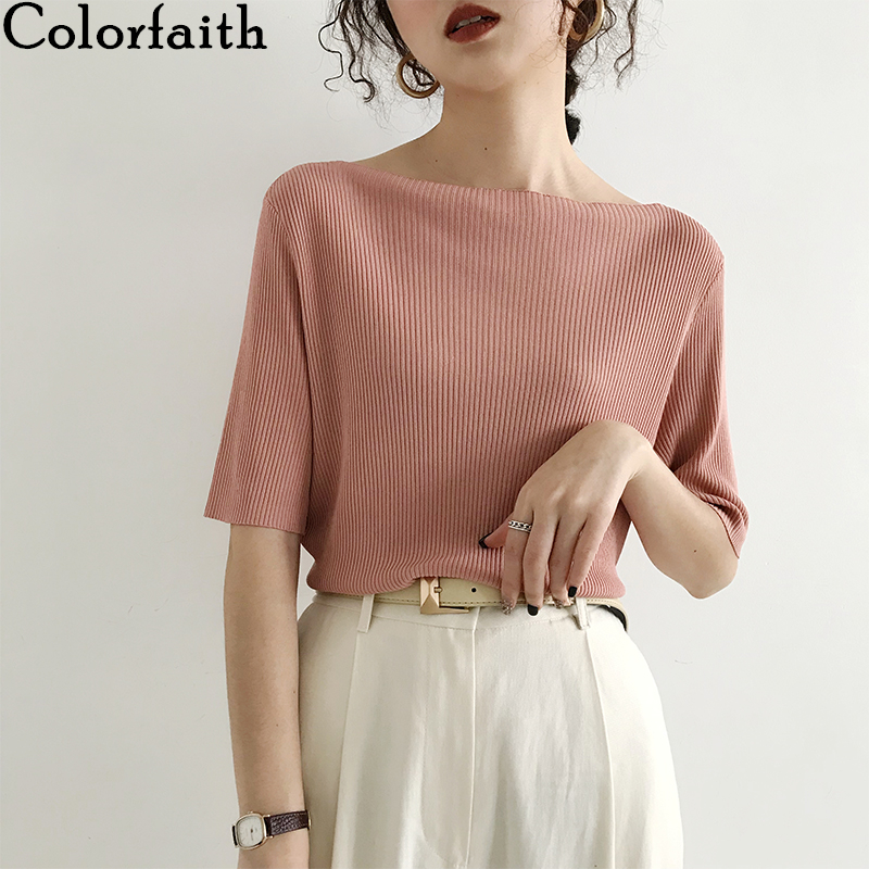 Colorfaith New 2020 Women Summer T-Shirts Solid Multi 6 Colors Bottoming Casual Slash Neck Knitting Elasticity Wild Tops T1608