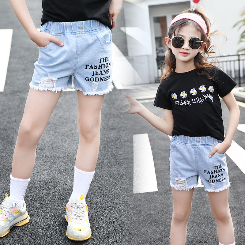 4-13 Year Old Girls Jeans Shorts 2020 Summer Girl Short Pants for Kids Ripped Jeans for Children Denim Shorts Letter Print 1