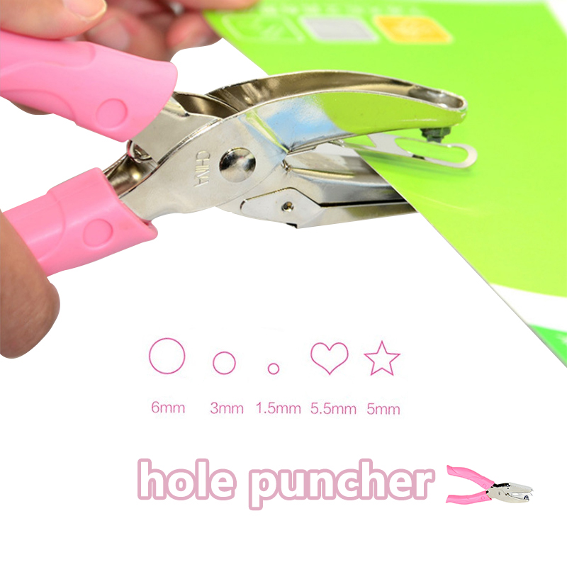 Hand Paper Punch Pink Glue Cutter Single Hole School Office Binding Stationery Star Circle Scrapbooking  All Metal Materials