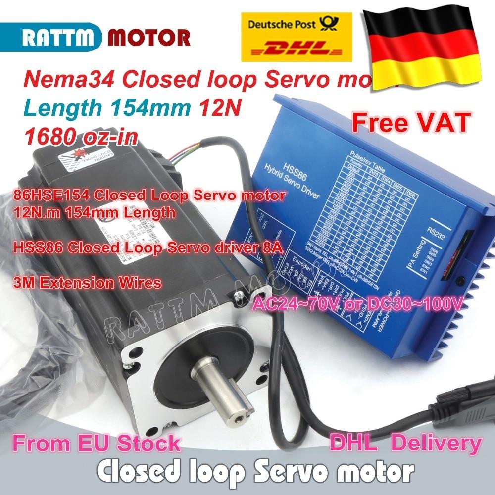 DE free VAT Nema34 L-154mm Closed Loop Servo Motor 6A 12N.m & HSS86 Hybrid 8A Step servo Driver CNC Controller Kit