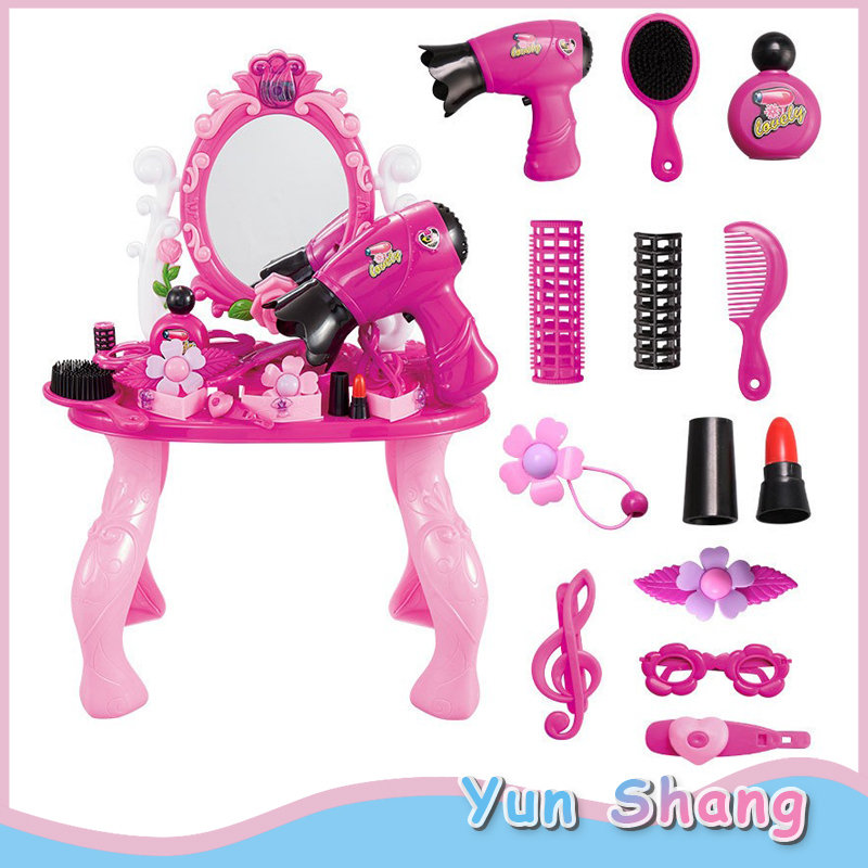 Girls Dressing Table Toy Play House Princess Pink Suit Girls Pink Vanity Table Dressing Mirror Make Up Desk Toy Play House Sets
