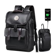 LIELANG ظهره الرجال حقيبة ظهر مدرسية من الجلد حقيبة للكلية تصميم بسيط الرجال حقيبة ظهر للسفر mochila