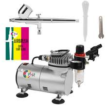 OPHIR 110V 220V Airbrush & Air Compressor Kit 0.3 mm Dual-Action for Body Paint Tattoo Nail Art  _AC089+AC004A