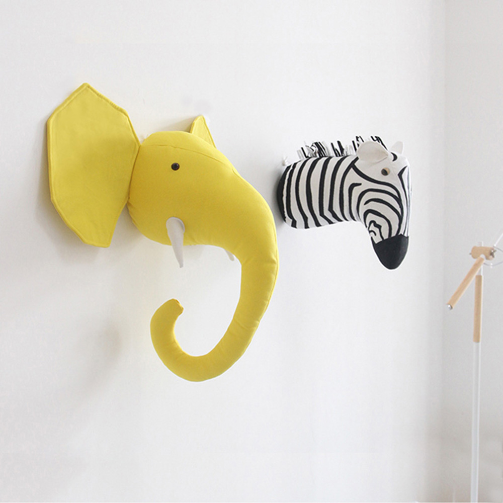 shewt Plush Stuffed Animal Head Wall Decor,Giraffe Zebra Tiger Elephant Head Wall Mount for Kids Bedroom,Nursery Wall Decor,Gifts for Boys /& Girls