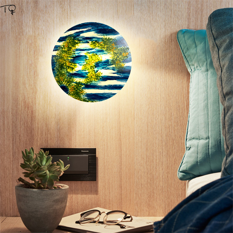 Nordic Colorful Texture Lampshade Modern Led Sconce Wall Lights Starlight Lamp Design Living Room Dining Room Stairs Decor Salon