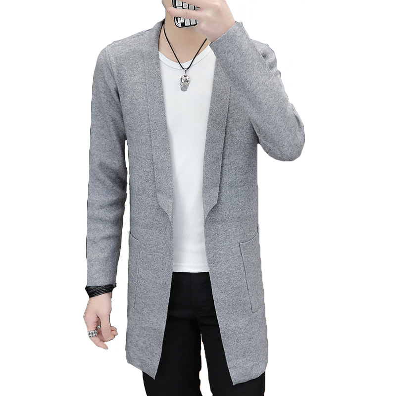 Autumn 2019 The New Young Man Long Sleeve Knitted Cardigan Sweater Cultivate One's Morality Handsome Casual Long Sweater