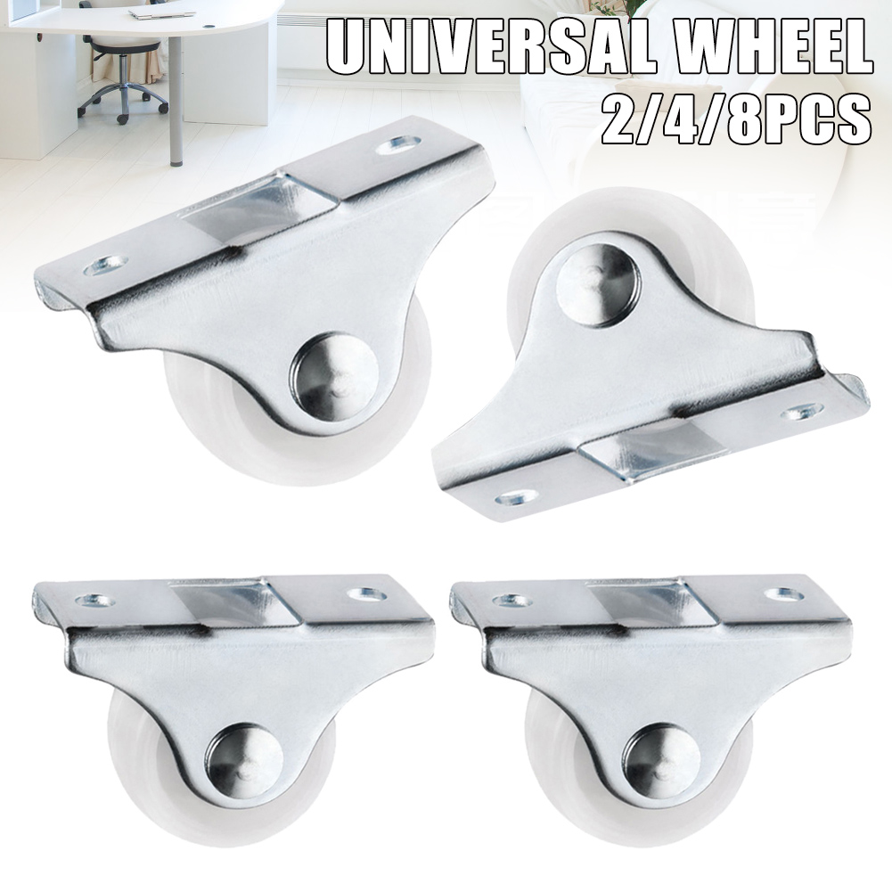 White Rail Fixed Casters Small 1-Way Wheel Furniture Plastic Directional Wheel Wear-resistant  J99Store