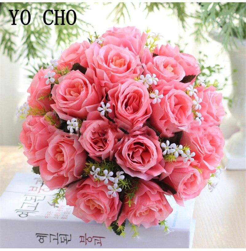 Artificial Flowers Rose Babysbreath Bouquet DIY Wedding Bridal Bouquet Flores Home Table Desk Decor Silk Fake Flower Bouquet