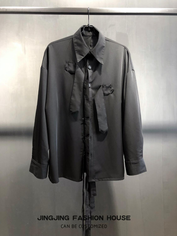 Ruban Design noir homme pioneer ruban déconstruit chemise à manches longues chemise ample - 2