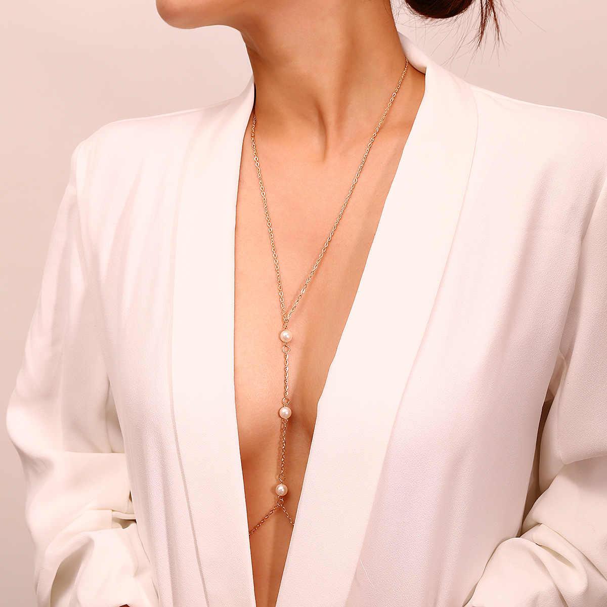 Seksi sütyen kolye Retro zincirler kadınlar için moda Bikini vücut zincirleri yaz plaj partisi takı parlak Rhinestone vücut zincirleri