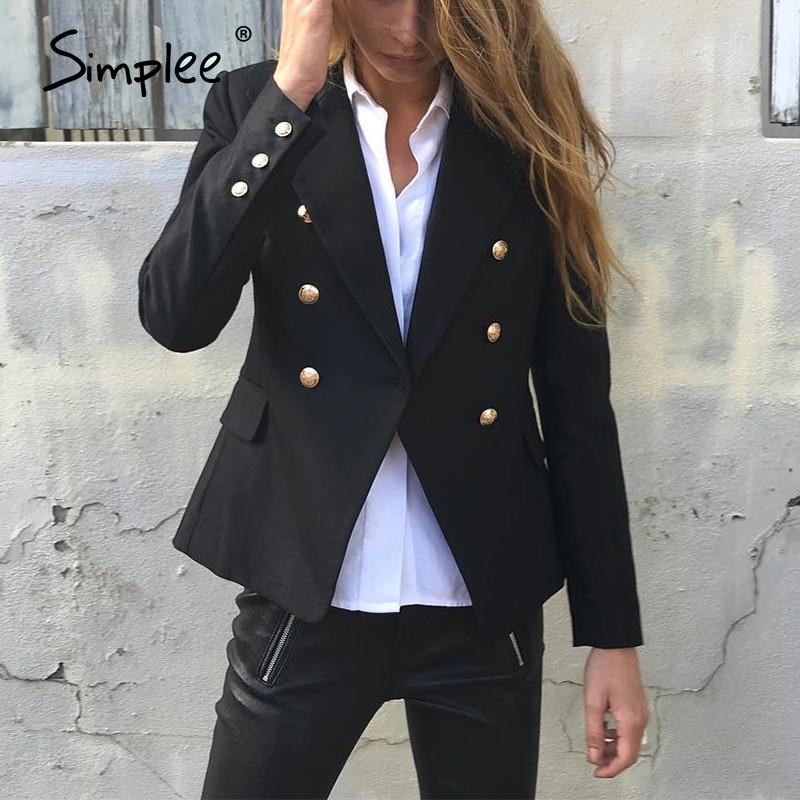 Simplee Autumn OL Double Breasted White Blazer Women Coat Elegant Slim Suit Blazer Black Cool Winter Outwear Short Jacket
