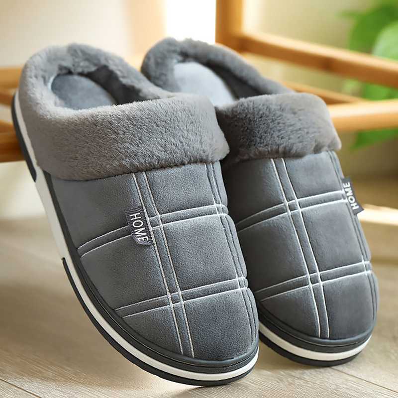 Winter Warm Slippers Men Suede Gingham Short Plush Indoor Shoes For Male Non Slip Cozy Velvet Waterproof Fur Home Men Slippers