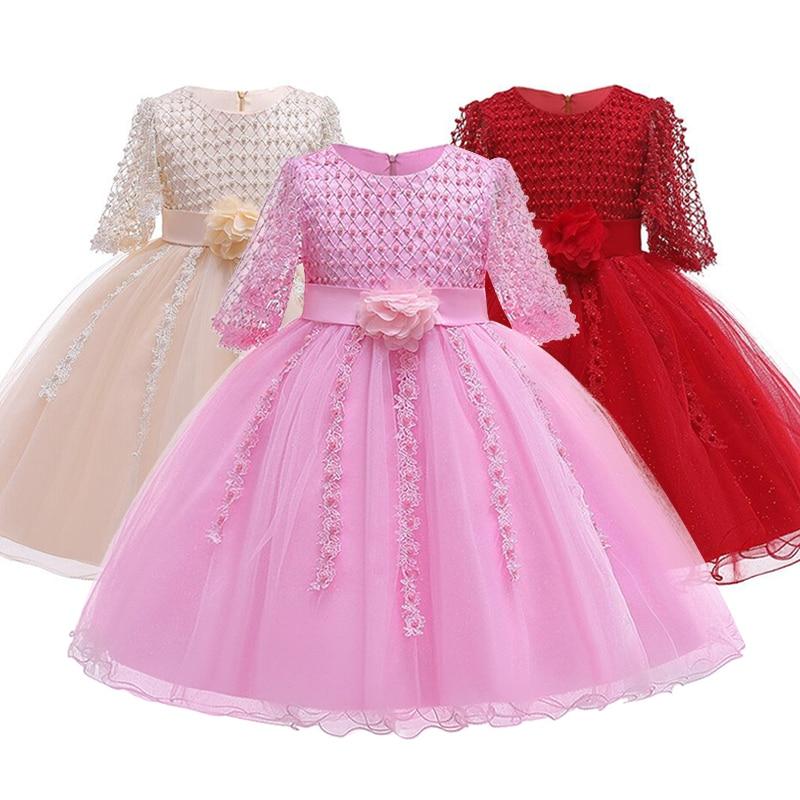 2021 Christmas Dress Beading Formal Elegant Wedding Gown Princess Dresses Flower Evening Kids Party For Girl Children Clothing