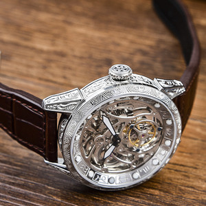 Image 3 - Classical Carved Large Dial Mens mechanical Wrist watch Tourbillon movement 50m Fashion Men Skeleton Tourbillon Watches AOHAOHUA