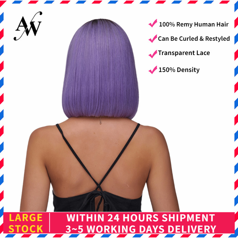 AW 10'' 12'' Rose Purple Straight Bob Lace Front Wig Transparent Pre Plucked Hairline Half Lace Remy Wig For Women 150% Density