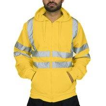 Jacket Mens Road Work High Visibility Pullover harajuku windbreaker jackets Long Sleeve Hooded streetwear zipper coats Top Q0916