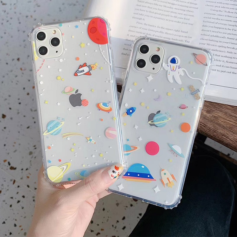 Cute Extraterrestrial Spaceship Astronaut Clear Soft Tpu Phone Case for iphone11 11peo max 7 8 Plus X XS MAX XR Cartoon Cover image