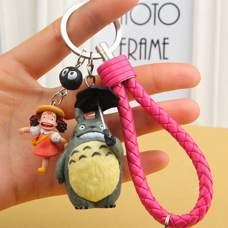 Miyazaki Hayao Animated Film My Neighbor Lovely Totoro Keychain Totoro PVC Doll Keyrings Charms Bag Backpack Accessories