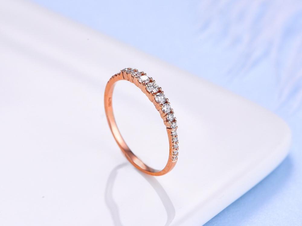 ANI 18K or blanc/Rose (AU750) bague de mariage 0.24 CT anneaux en or anillos mujer bague de mariage véritable diamant naturel pour les femmes - 4