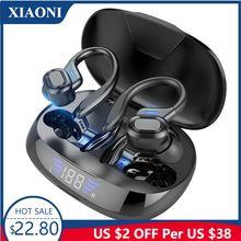 Tws bluetooth earphones with microphones sport ear hook led
