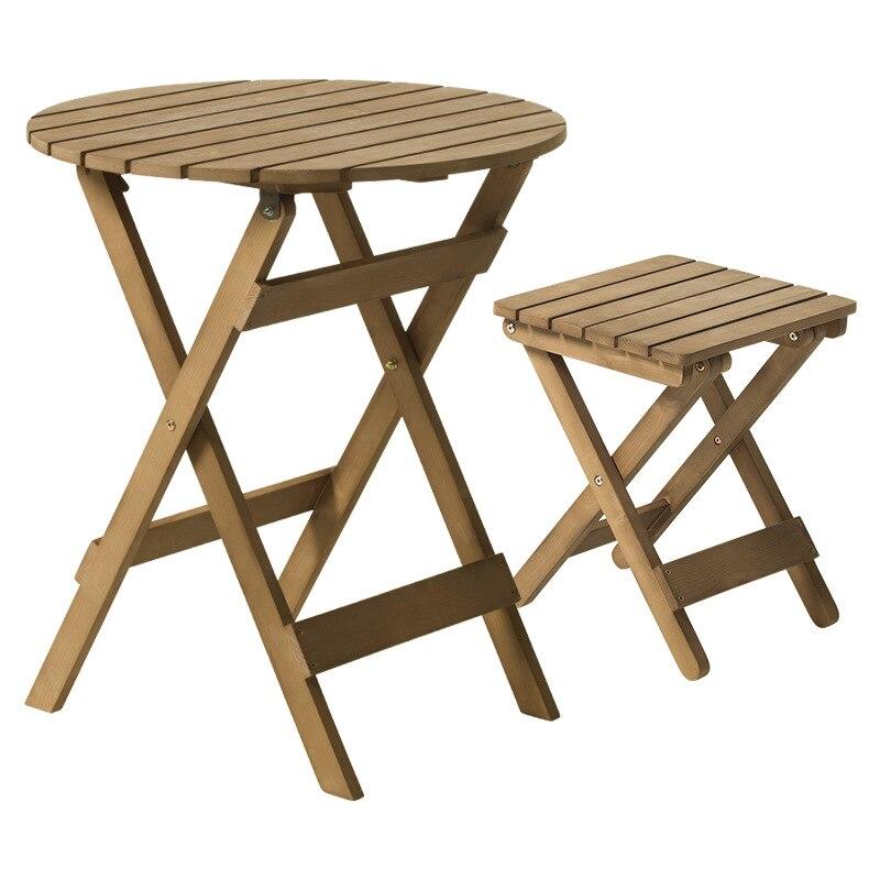 ensemble de jardin en bois pliable pour patio exterieur moderne table et tabourets ronds meubles d exterieur et d interieur