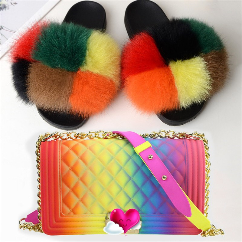 Women Shoes Real Fox Fur Slippers Women Fur Slippers Rainbow Color Shoes Cute Fur Slippers Women Travel Jelly Color Bag Set
