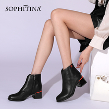 Women Shoes Ankle-Boots SOPHITINA Heel Spring Comfort Zipper The-Color Genuine-Leather