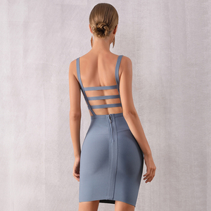 Image 5 - Adyce 2020 New Summer Bodycon Bandage Dress Women Sexy Backless Spaghetti Strap Hollow Out Club Dress Mini Celebrity Party Dress