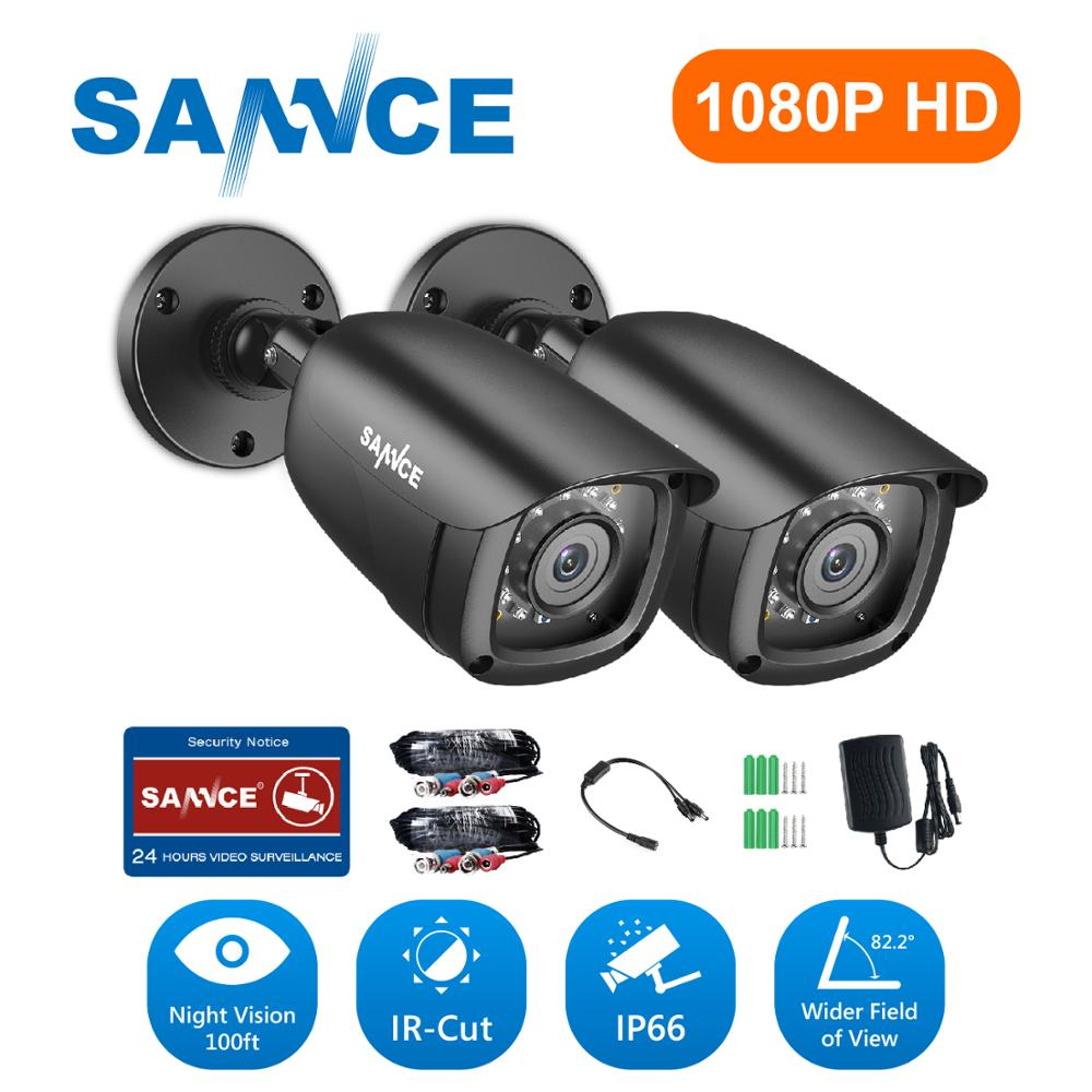 SANNCE 2PCS 1080P CCTV Security Cameras 2.0MP Outdoor Home Video Surveillance Camera CCTV System-in Surveillance System from Security & Protection