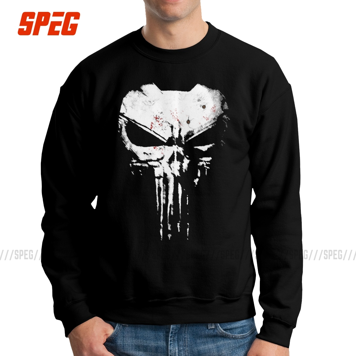 Men's The Skull Punisher Hoodie Supper Hero Fitness Streetwear Memento Mori Vintage Sweatshirts Cotton Printed Pullover Clothing