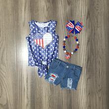 Girlymax julho 4th verão americano do bebê meninas crianças roupas jeans shorts estrelas laço nó topo algodão acessórios de jogo