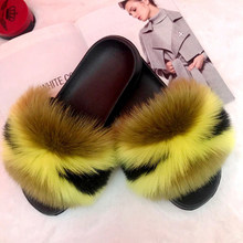 Real fox Fur Slippers Women Home Fluffy Sliders Comfort Furry Summer Flats Sweet Ladies Shoes Female Furry Indoor Flip Flops(China)