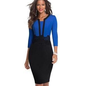 Image 3 - Güzel sonsuza kadar zarif dantel Patchwork ofis vestidos İş Bodycon kadın elbise B569