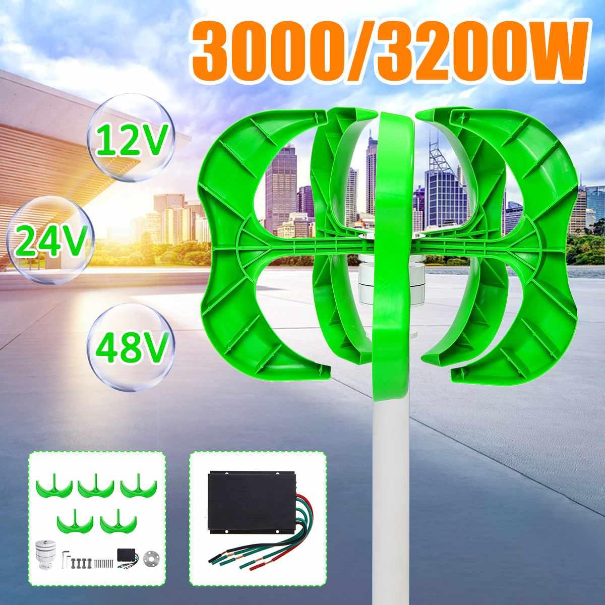 3200 W/3000 W éolienne 12/24/48V 5 pales générateur lanterne éoliennes axe Vertical pour lampadaire domestique + contrôleur