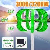 3200 W/3000 W generador de viento 12/24/48V 5 cuchillas generador linterna turbinas de viento Vertical eje para luz de calle del hogar + controlador