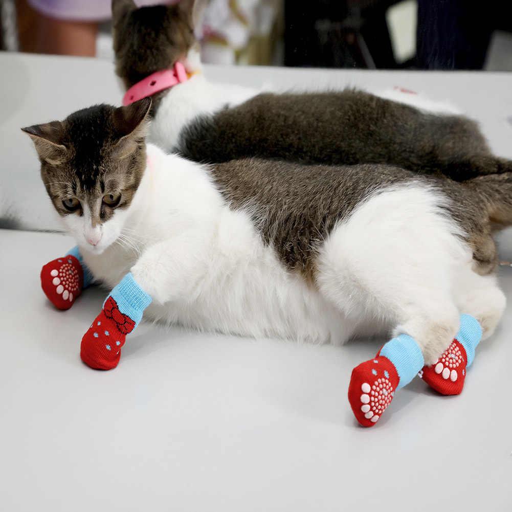 4 unids/set de calcetines de punto para perros pequeños, zapatos antideslizantes de algodón para gatos para Otoño Invierno, ropa interior, antideslizante en el Protector de patas