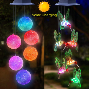 Solar Light Outdoor Powered LED Wind Chime IP65 Waterproof Butterfly Hummingbird Lawn Lamps For Garden Yard Decoration