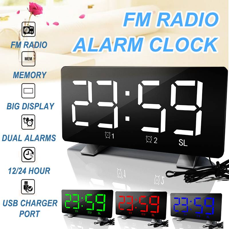 FM Radio Digital Alarm Clock Multi Alarms Multifunction Desktop Usb Led Mirror Clock Snooze Time Backlight Bedroom Kids(China)