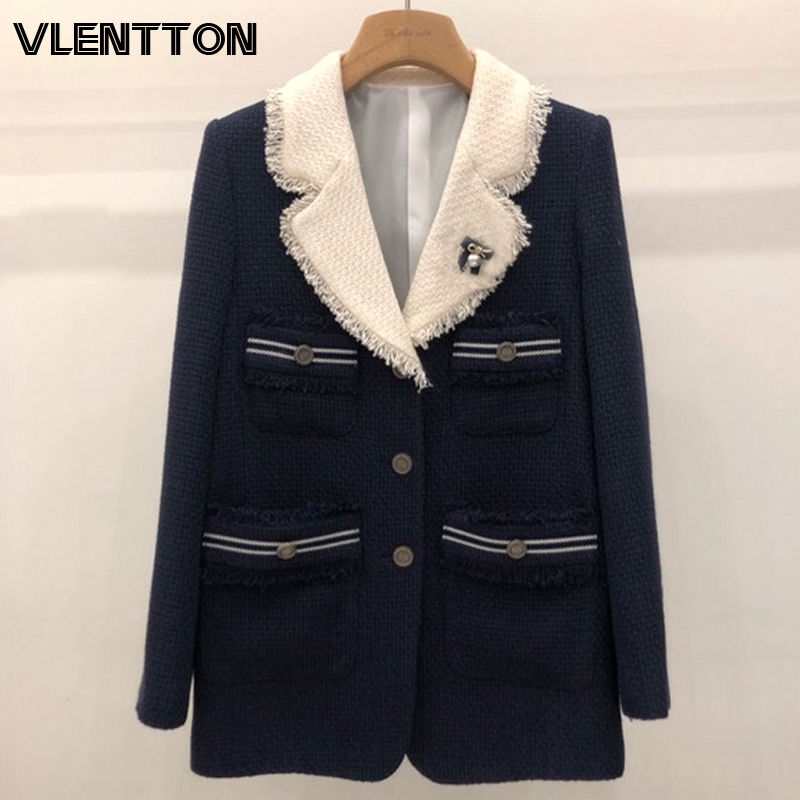 2020 Spring Autumn Vintage Tweed Solid Blazers Women Chic Single Breasted Tassel Suit Jacket Coat Female Office Blazer Mujer